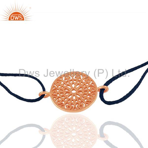 Exporter Rose Gold Plated Sterling Silver Charm Blue Thread Bracelet Supplier