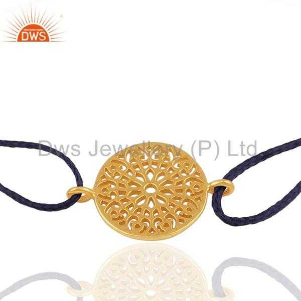 Exporter 18k Gold Plated 925 Silver Indian Charm Macrame Bracelet Suppliers
