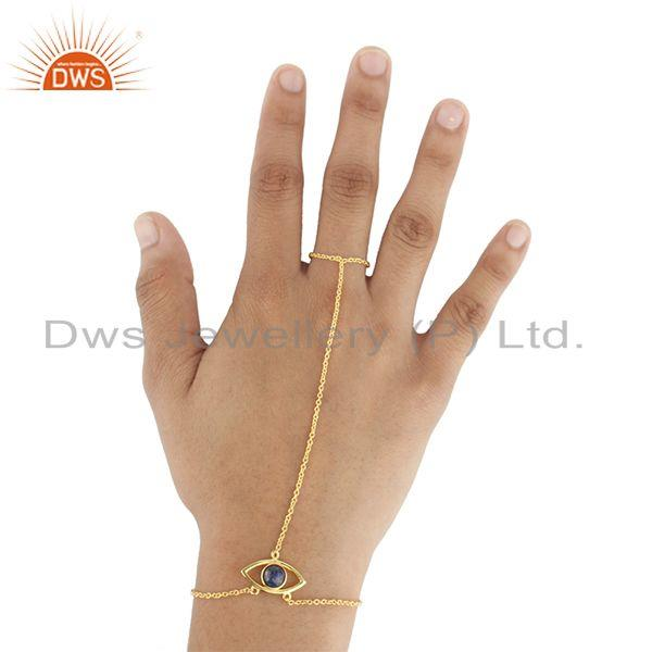 Exporter Evil Eye Design 925 Silver Gold Plated Chain Ring Bracelet Manufacturers India