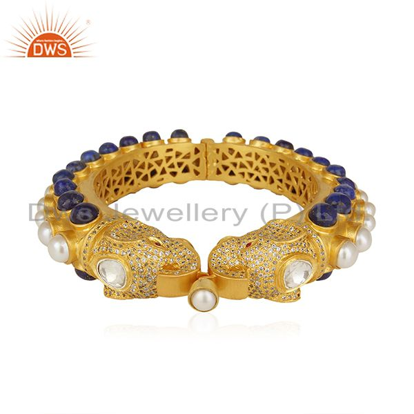 Supplier of Elephant shape lapis lazuli solid 925 silver traditional bangle