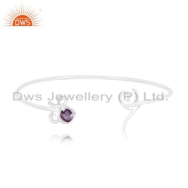 Exporter Customized Love Initial Sterling Silver Gemstone Cuff Bracelet Manufacturer