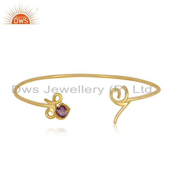Exporter Private Label Love Initial Gold Plated 925 Silver Cuff Bracelet Manufacturer