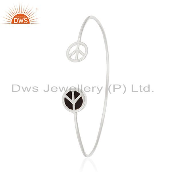 Supplier of Customized peace sign 925 silver black onyx cuff bangle manufacturer