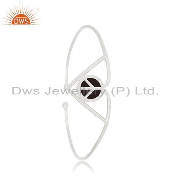 Supplier of Handmade 925 silver lucky peace sign charm cuff bangle manufacturers
