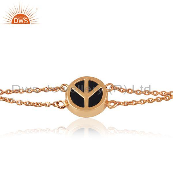 Exporter Peace Silver Rose Gold Plated Silver Charm Black Onyx Bracelet Jewelry