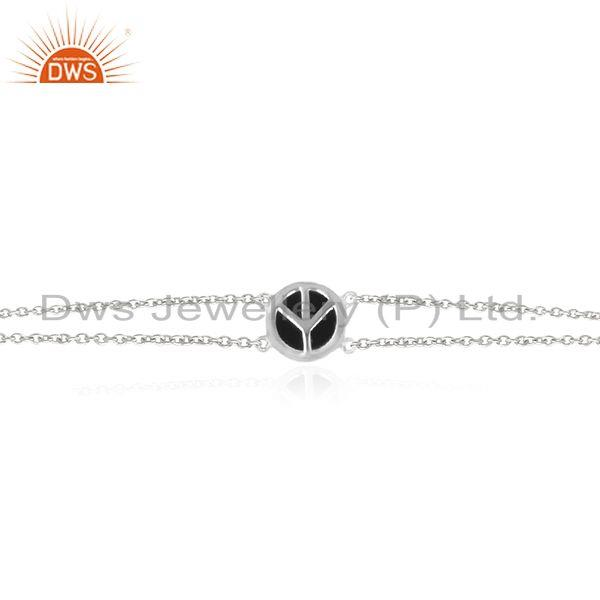 Exporter Sterling Silver Gemstone Peace Sign Custom Bracelet Jewelry Manufacturer India