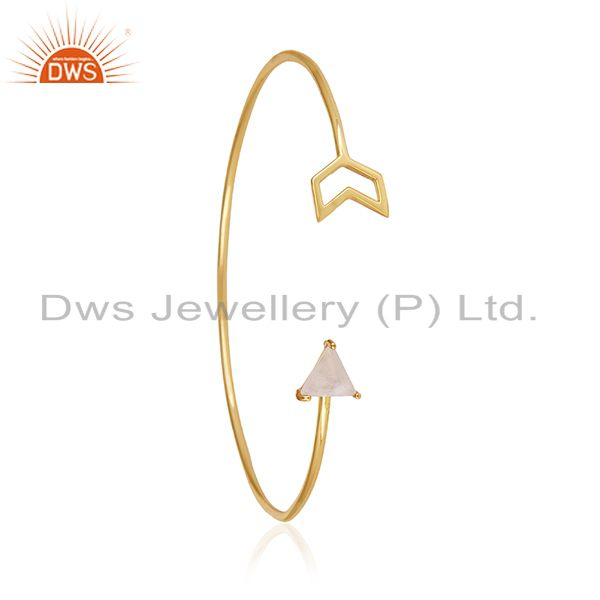 Exporter Buy Gold Plated Sterling Silver Arrow Cuff Bracelet Manufacturer for Designers