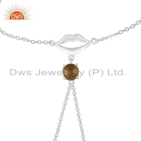 Exporter Citrine Gemstone 925 Sterling Fine Silver Lip Design Chain Bracelet Wholesale