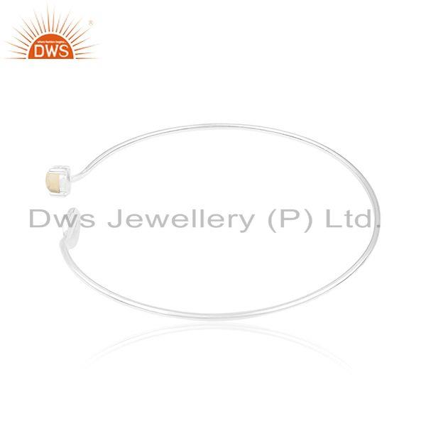 Supplier of Lip design 925 silver natural citrine gemstone bangle manufacturer