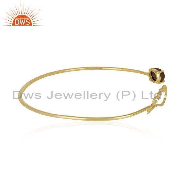 Wholesale Angle Wing 14k Gold Plated 925 Silver Smoky Quartz Cuff Bracelet Manufacturer