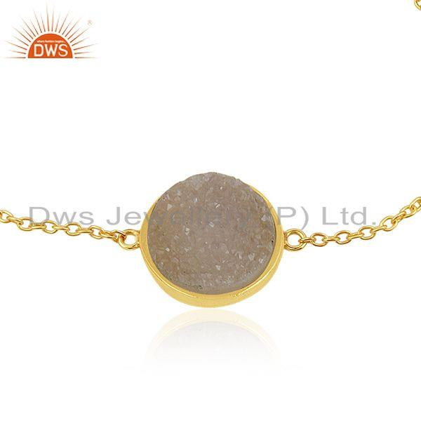 Exporter White Druzy Gold Plated 925 Sterling Silver Chain Bracelet Manufacturer