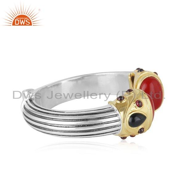 Exporter Natural Garnet Coral Gemstone Oxidized 92.5 Silver Kada Bangle Jewelry