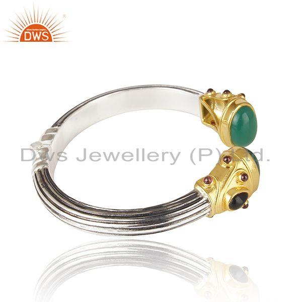 Exporter Green Onyx Gemstone Oxidized Sterling Silver Bangle Manufacturers