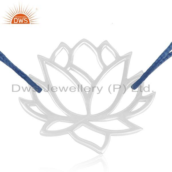 Exporter Lotus Design 925 Sterling Fine Silver Blue Cord Adjustable Bracelet Suppliers
