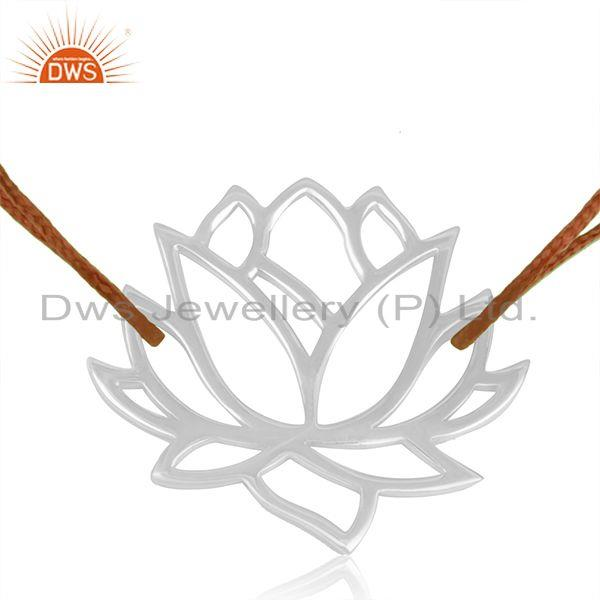 Exporter Lotus Flower Design 925 Sterling Fine Silver Brown Cord Adjustable Bracelet