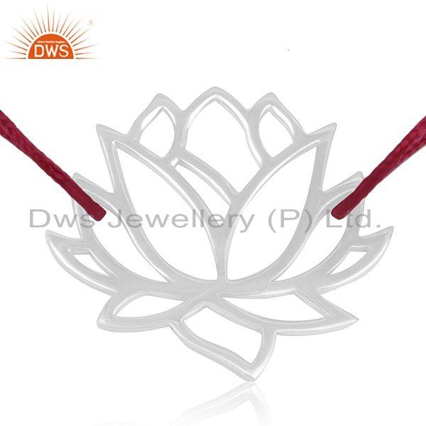 Exporter Adjustable Pink Cord 925 Sterling Silver Lotus Flower Bracelet Wholesale