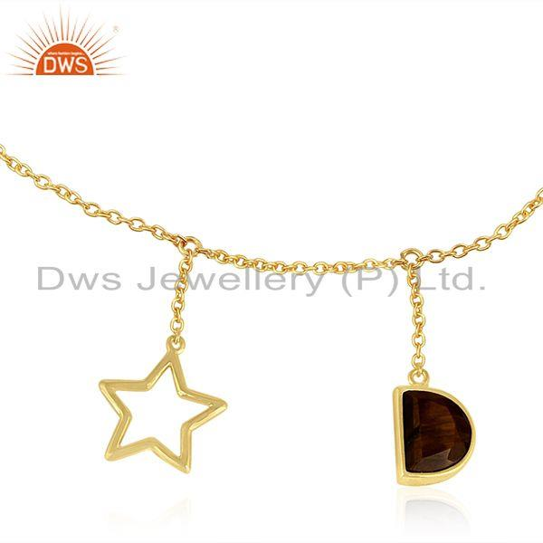Exporter Tiger Eye Gemstone 925 Silver Gold Plated Lucky Star Charm Chain Bracelet