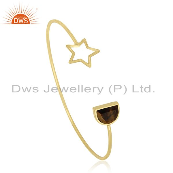 Exporter Tiger Eye Gemstone 925 Silver Gold Plated Star Charm Cuff Bracelet Manufacturers