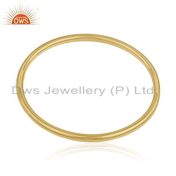 Supplier of Handmade 925 sterling silver gold plated simple bangle for womens
