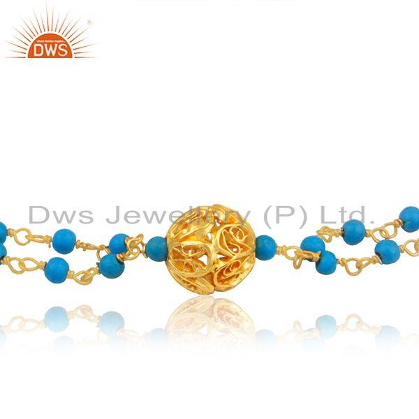 Exporter Handmade Gold Plated Silver Turquoise Beaded Gemstone Bracelet Jewelry