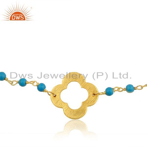 Exporter Turquoise Beaded Gemstone Wholesale Silver Gold Plated Clover Bracelet Jewelry