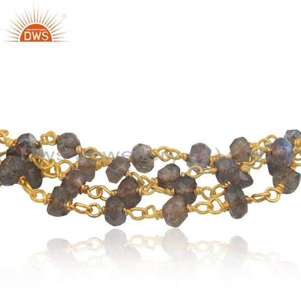 Exporter Wholesale Labradorite Beaded Gemstone 925 Silver Bracelet Jewelry For Girls