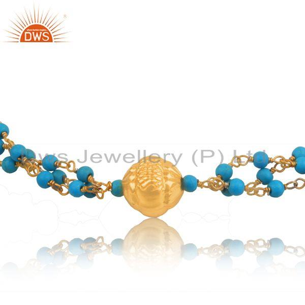 Exporter Gold Plated Indian 925 Silver Turquoise Beaded Bracelet Jewelry Manufacturer