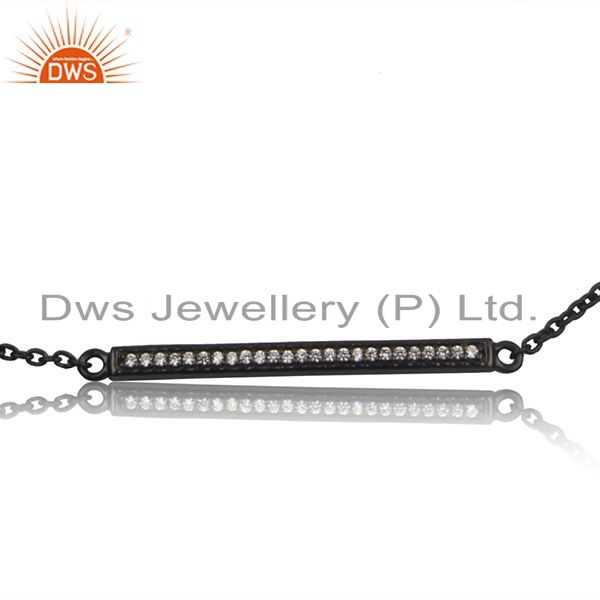 Exporter White Zircon Rhodium Plated 925 Sterling Silver Chain Bracelet Jewelry
