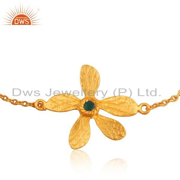 Exporter Leaf Design 925 Silver Gold Plated Green Onyx Gemstone Chain Bracelet Wholesale