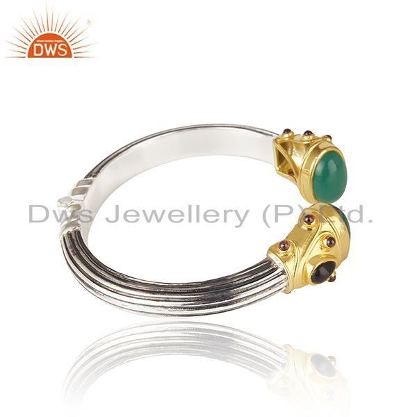 Exporter Gold Plated and Oxidized Sterling Silver Cuff Bangle Manufacturer