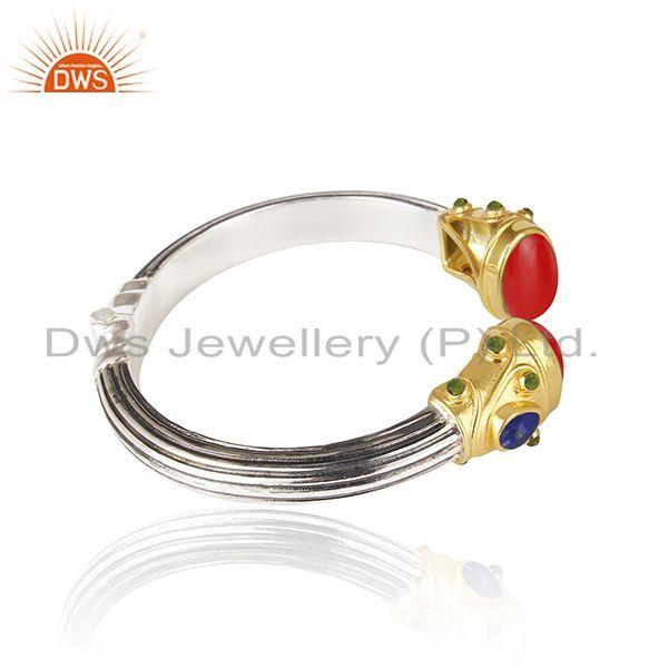 Exporter Red Coral Gemstone Gold Plated Sterling Silver Oxidized Cuff Bangle