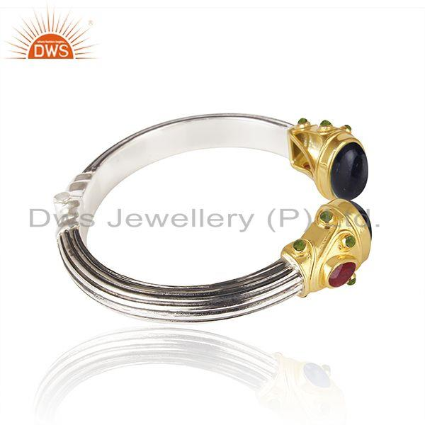 Exporter Natural Multi Gemstone Multi Color 925 Sterling Sliver Cuff Bangle