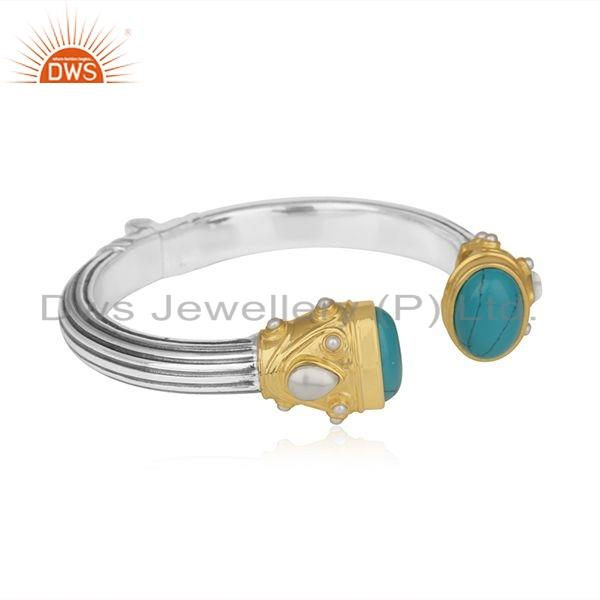 Exporter Turquoise Pearl Gemstone Oxidized Silver Openable Cuff Bangle Jewelry