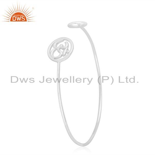Exporter Peace and Om Charm Fine 92.5 Sterling Silver Openable Cuff Bracelet Manufacturer