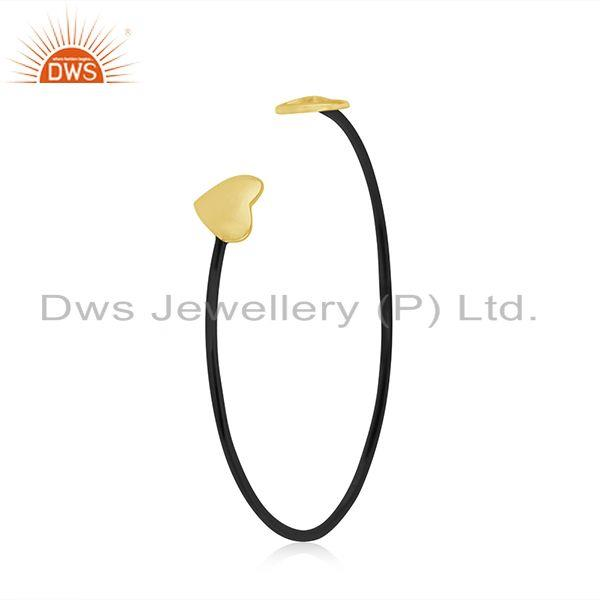Exporter Yellow Gold Plated 925 Silver Heart Peace Charm Cuff Bracelet Manufacturer India