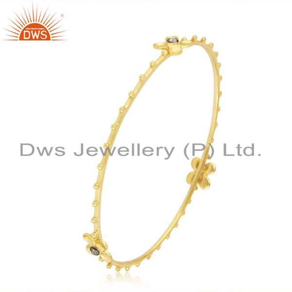 Supplier of 14k yellow gold plated 925 silver white zircon bangle manufacturer