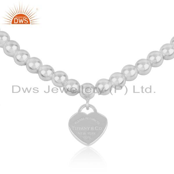 Exporter White Rhodium Plated 925 Sterling SIlver Heart Charm Beaded Bracelet Manufacture