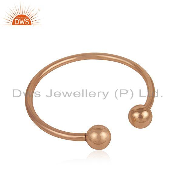 Exporter Simple 925 Sterling Silver Rose Gold Plated Unisex Cuff Bracelet Manufacturer