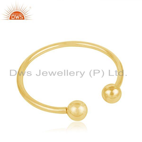 Exporter 18k Yellow Gold Plated 925 Sterling Silver Simple Cuff Bracelet Manufacturer