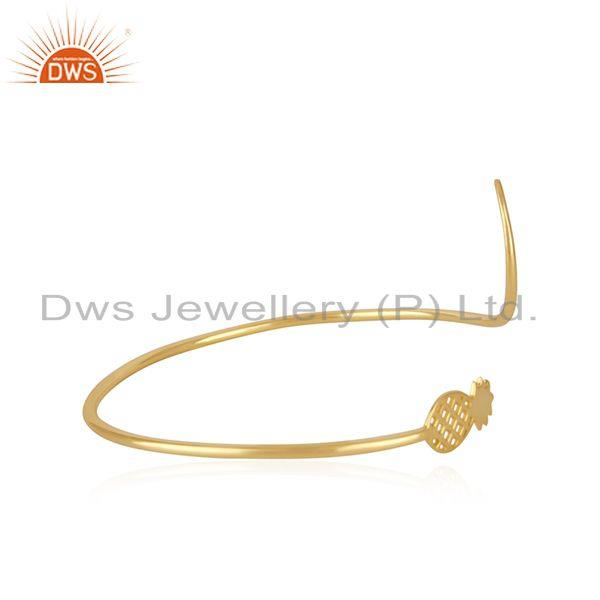 Exporter Pineapple Design 925 Silver Yellow Gold Plated Cuff Bracelet Manufacturer India