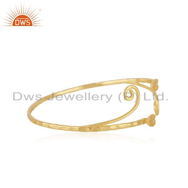 Exporter Handmade 925 Sterling Silver Gold Plated Cuff Bracelet Supplier from INdia