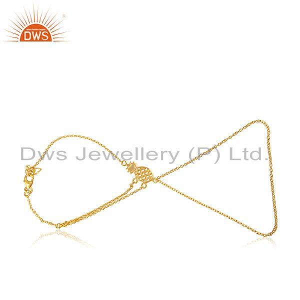 Exporter Pineapple Design 925 Sterling Silver Gold Plated Chain LInk Bracelet Suppliers