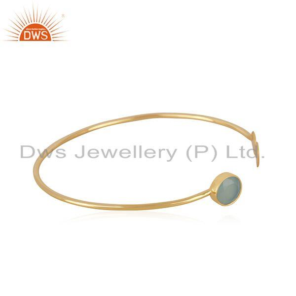 Exporter Aqua Chalcedony Gemstone Gold Plated 925 Silver Cuff Bracelet Manufacturer India
