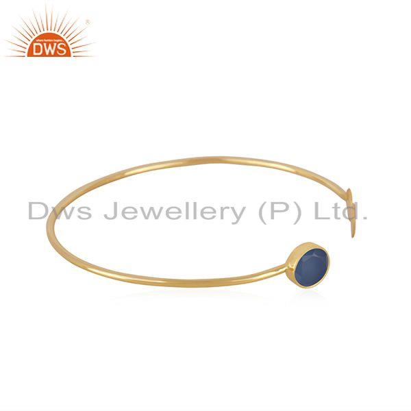 Exporter Blue Chalcedony Gemstone Gold Plated 925 Silver Designer Cuff Bracelet Supplier
