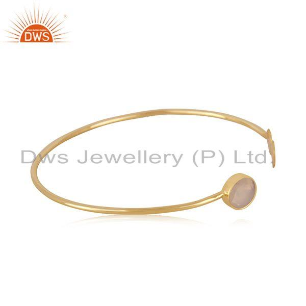 Exporter Rose Chalcedony Gemstone Gold Plated 925 Silver Cuff Bracelet Manufacturer