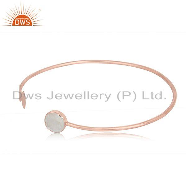 Rose gold plated designer silver rainbow moonstone cuff bangles