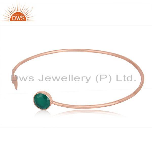Green onyx gemstone rose gold plated designer silver cuff bangles