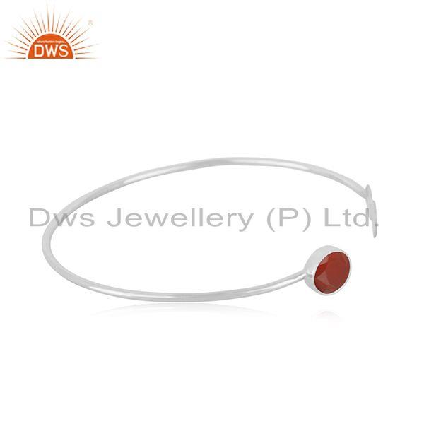 Exporter Red Onyx Gemstone 925 Sterling Silver Cuff Bracelet Manufacturer Jaipur INdia