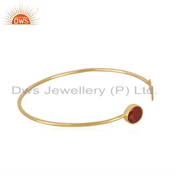 Exporter Red Onyx Gemstone 925 Silver Gold Plated Cuff Bracelet Wholesale