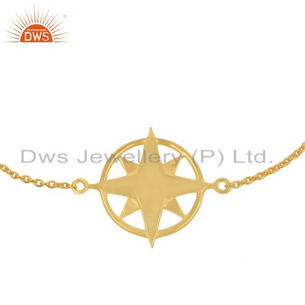 Exporter Yellow Gold Plated 925 Sterling Plain Silver Chain Compass Bracelet Wholesale